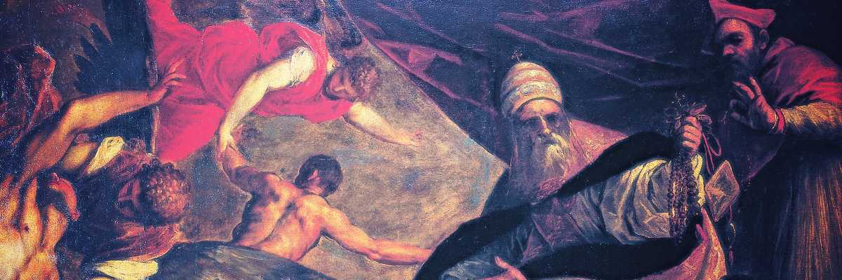 Jacopo Palma the Younger, Pope Pius V distributes the indulgences for souls, canvas, 234 x 243 cm - (courtesy of Ateneo Veneto)